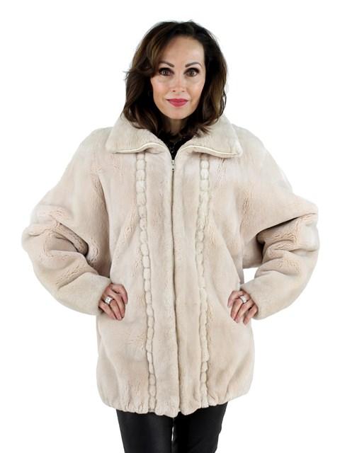 Woman's Musi Beige Sheared Beaver Fur Jacket