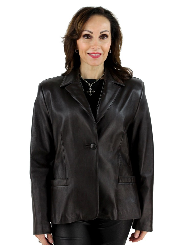 Woman's Brown Lambskin Leather Jacket
