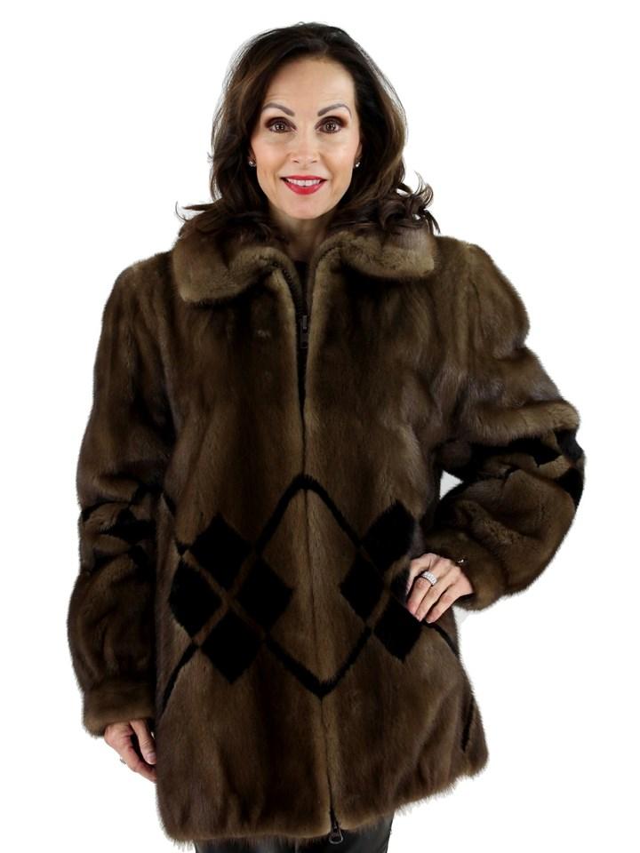 Woman's Demi Buff Mink Fur Zipper Jacket with Ranch Mink Inserts