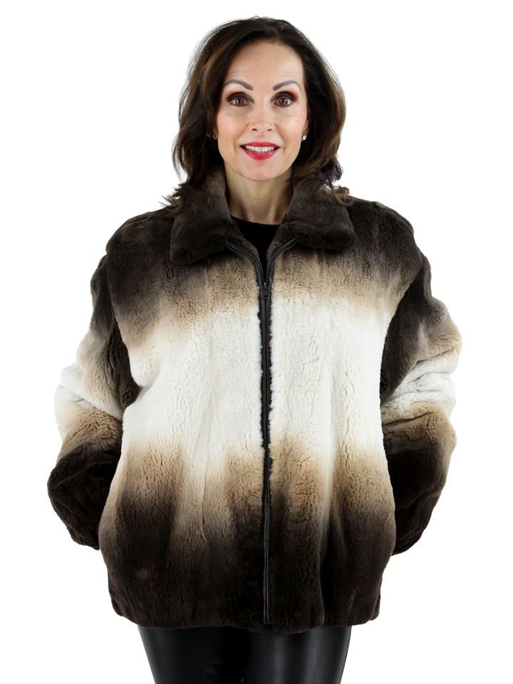 Woman's Three Tone Sheared Mink Fur Jacket