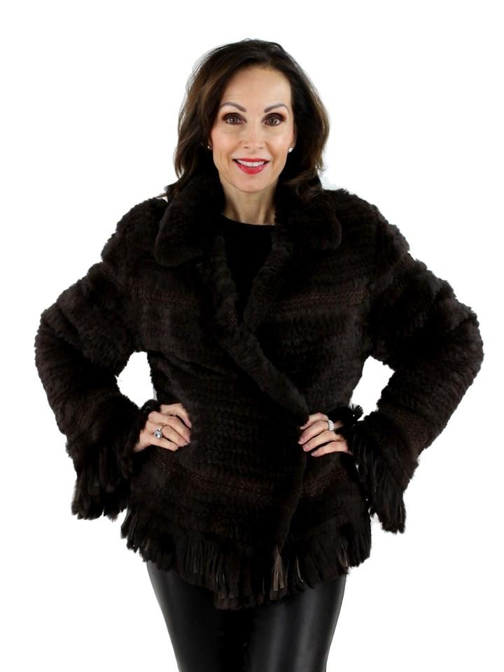 Woman's Dark Brown Rex Rabbit Knit Fur Jacket