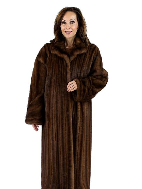 Woman's Demi Buff Female Mink Directional Fur Coat