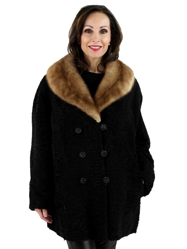 Woman's Persian Lamb Jacket with Autumn Haze Mink Collar