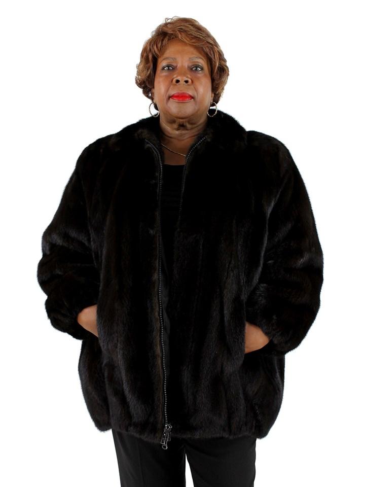 Woman's Plus Size Ranch Mink Fur Jacket