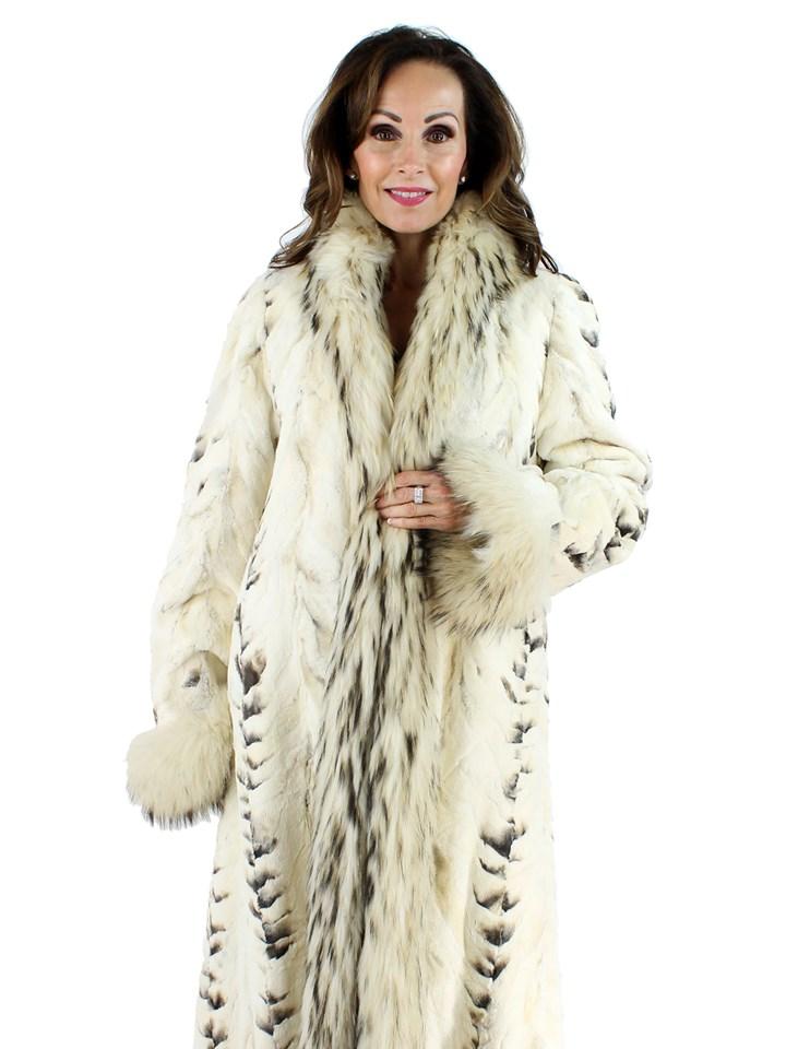Woman's Bleached Sculptured Mink Fur Coat with Finn Raccoon Trim
