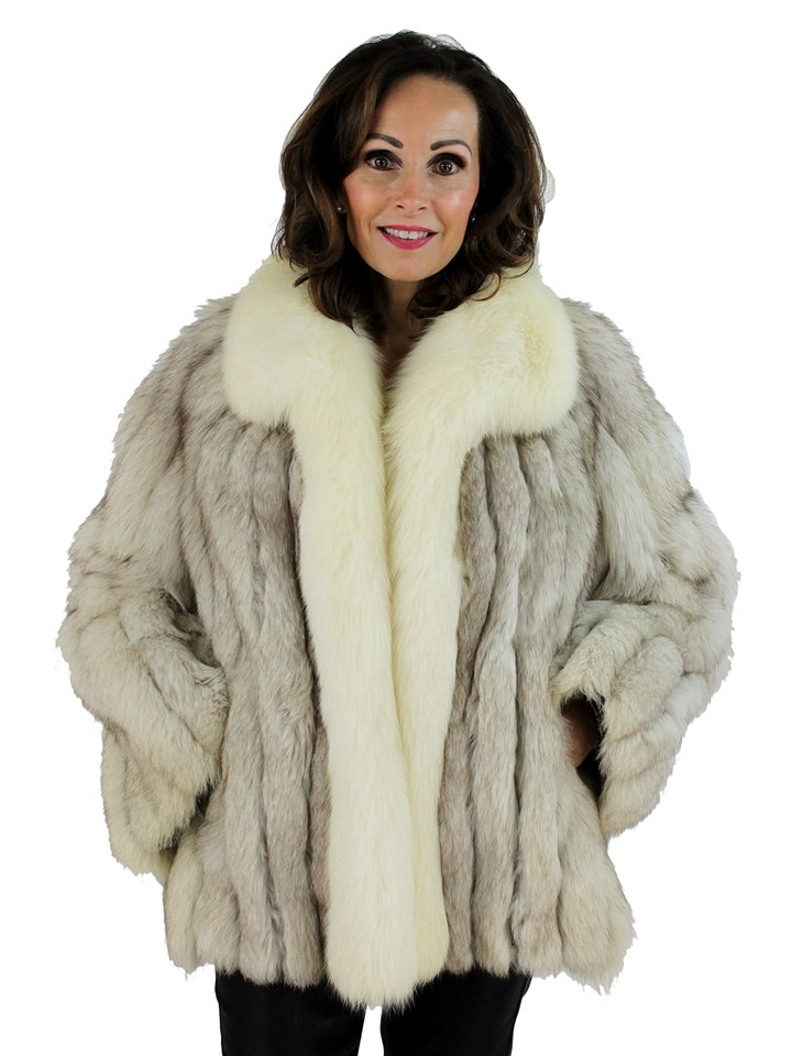 Woman's Blue Fox Fur Jacket with Shadow Fox Tuxedo Front