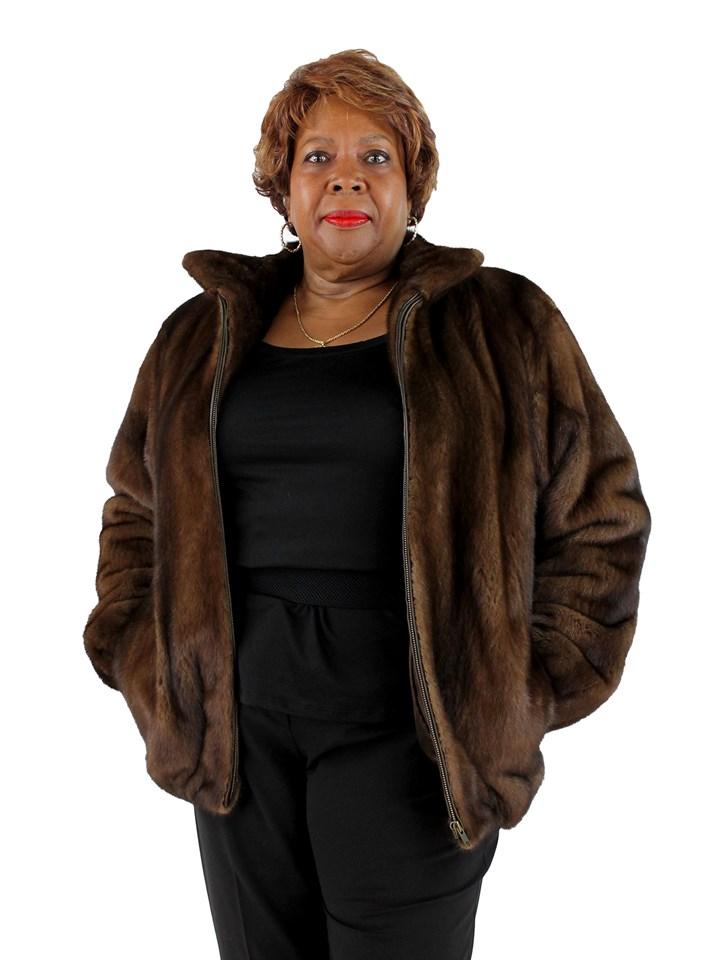 Woman's Demi Buff Mink Fur Zipper Jacket