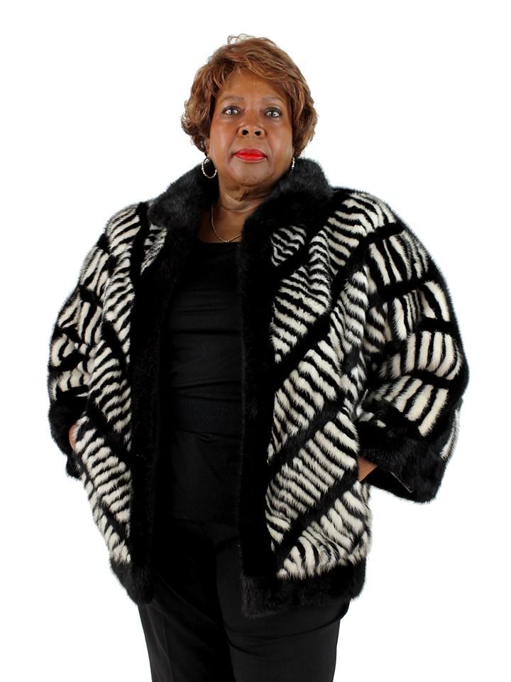 Woman's Black/White Mink Fur Jacket