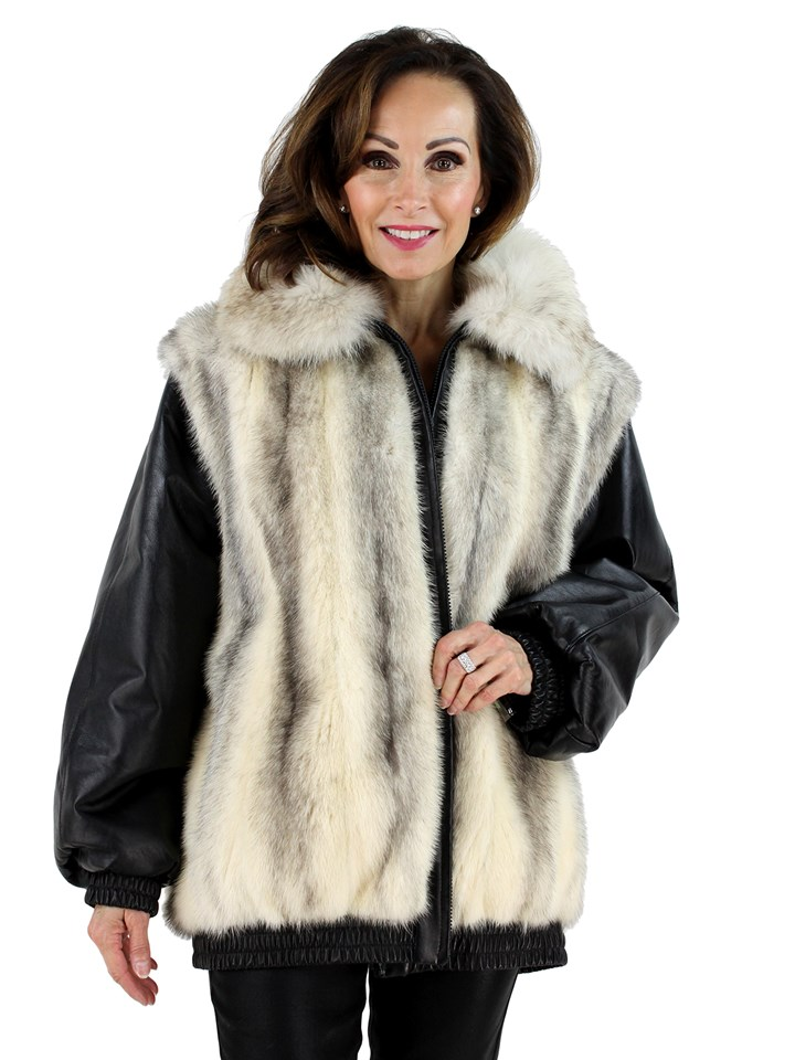Woman's Cross Mink Fur and Leather Jacket or Vest