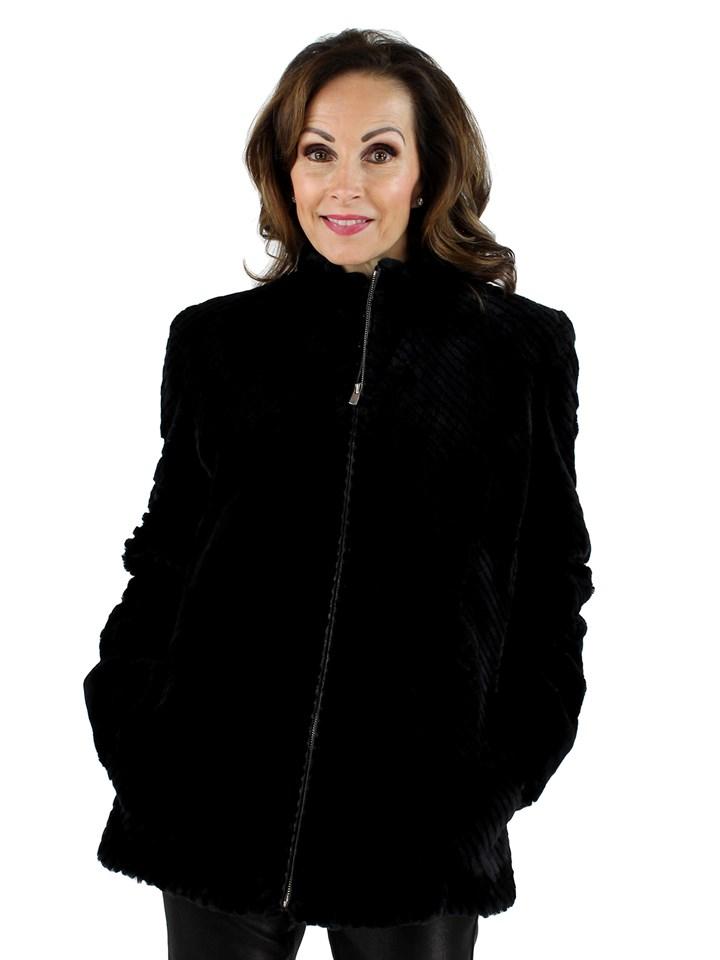 Woman's Petite Like New Black Sheared Beaver Fur Jacket