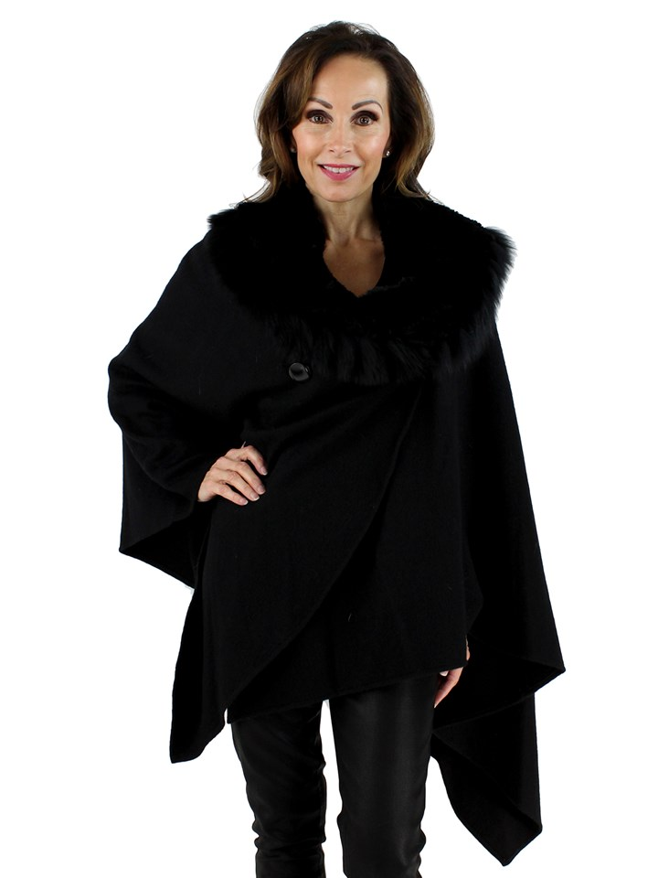 Woman's Black Cashmere Cape with Rex Rabbit and Fox Collar