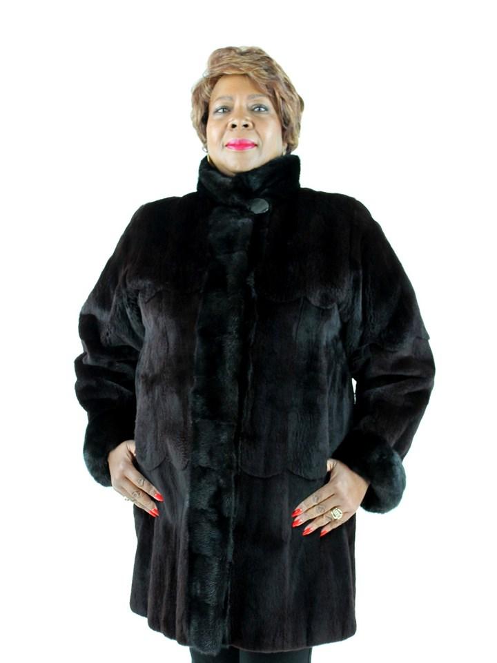 Woman's Plus Size Black Sheared Mink Fur Stroller