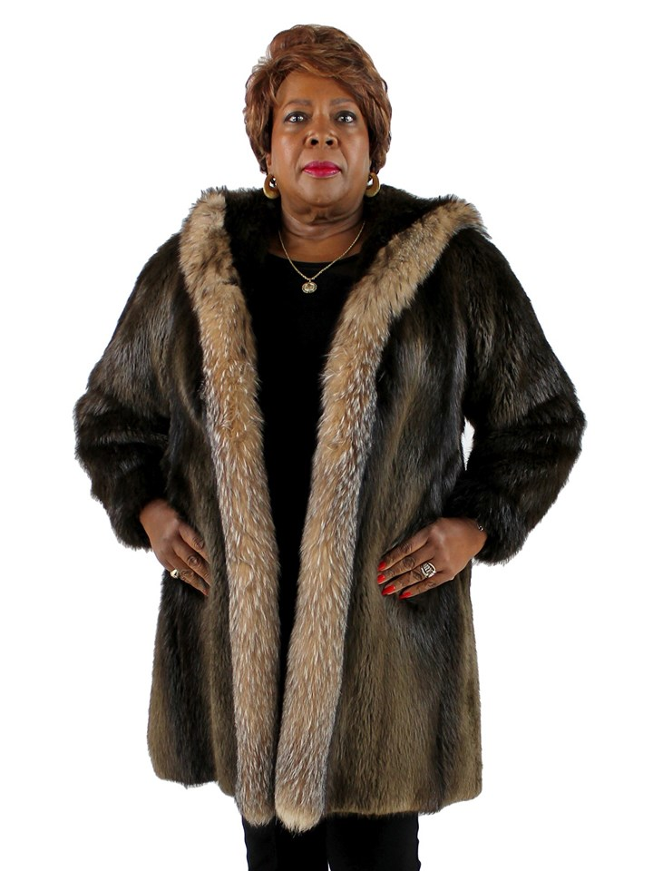 Woman's Dark Brown Long Hair Beaver Coat with Crystal Fox Trim