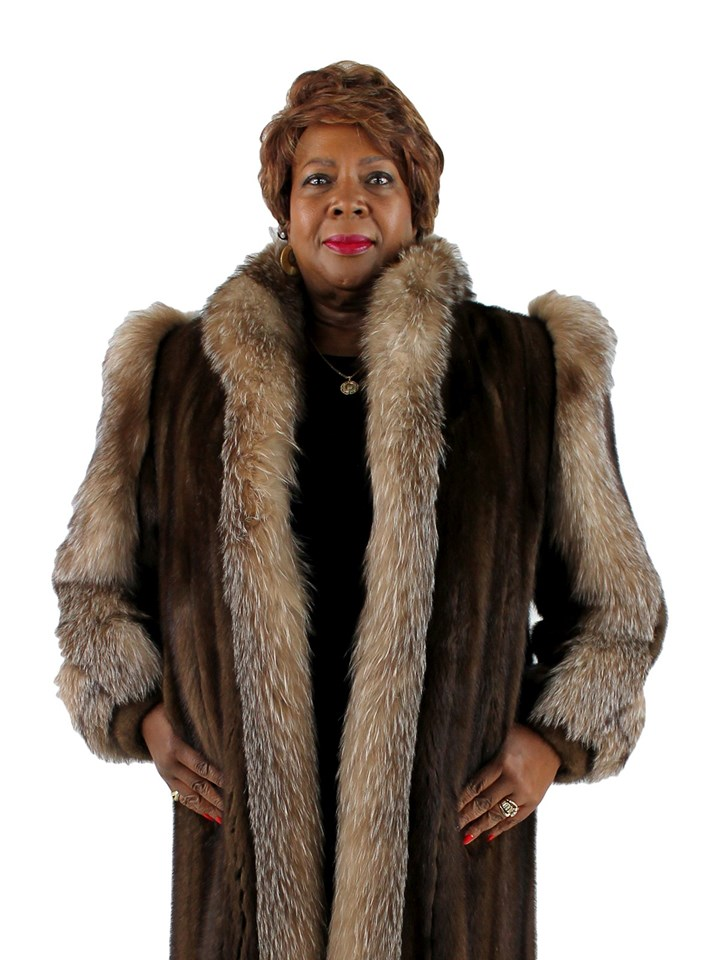 Woman's Plus Size Mahogany Mink Fur Coat with Crystal Fox Tuxedo Front