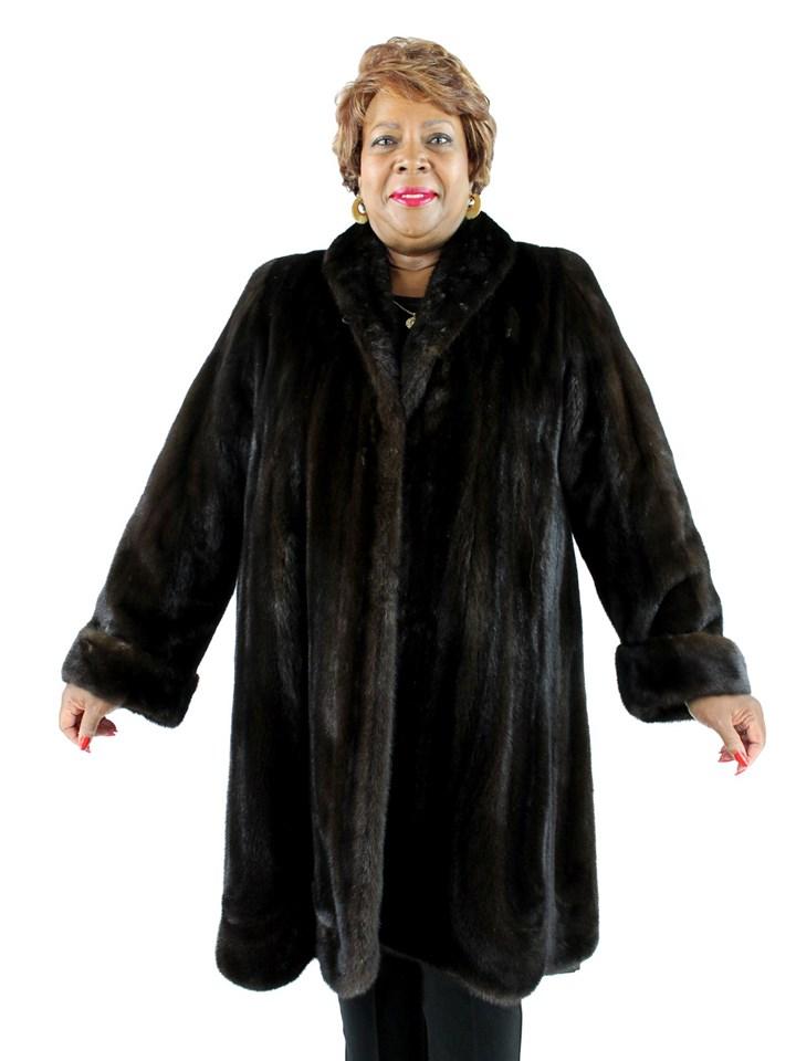 Woman's Plus Size Dark Mahogany Directional Mink Fur 7/8 Coat