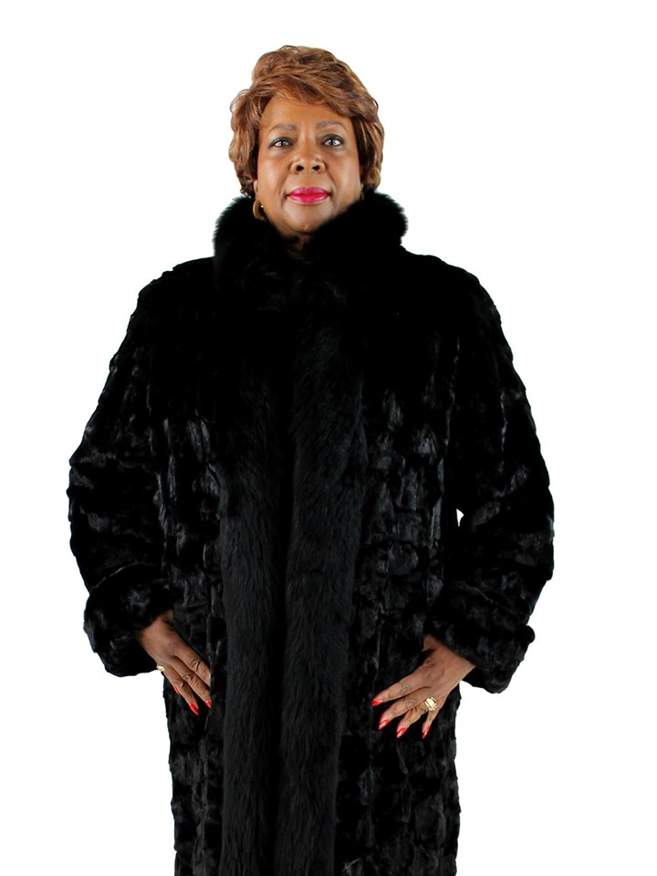 Woman's Sectioned Ranch Mink Fur Coat with Fox Tuxedo Front