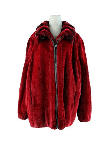 Man's Burgundy Sheared Mink Fur Jacket with Chinchilla Collar