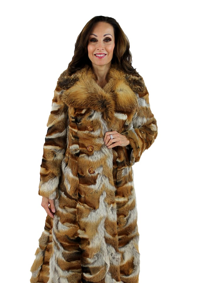 Woman's Multi Tone Double Breasted Sectional Red Fox Fur Coat