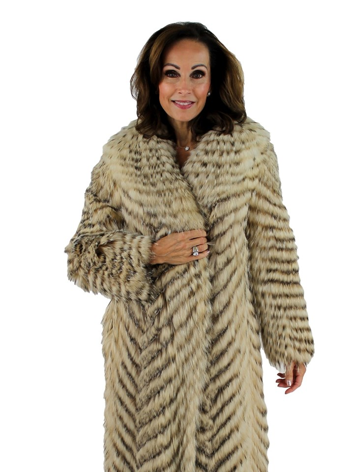 Woman's Feathered Badger Fur Coat