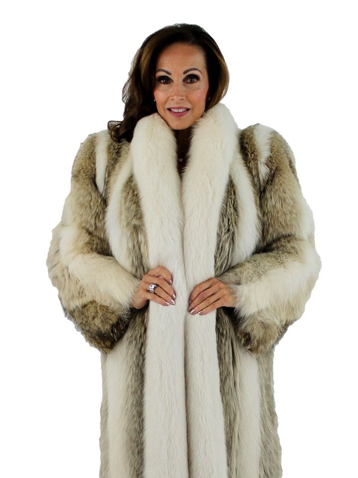 Woman's Coyote Fur Coat with Shadow Fox Tuxedo Front and Trim