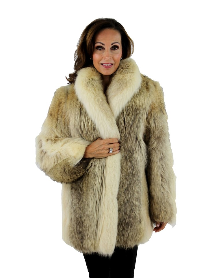 Woman's Coyote Fur Jacket with Shadow Fox Tuxedo Front