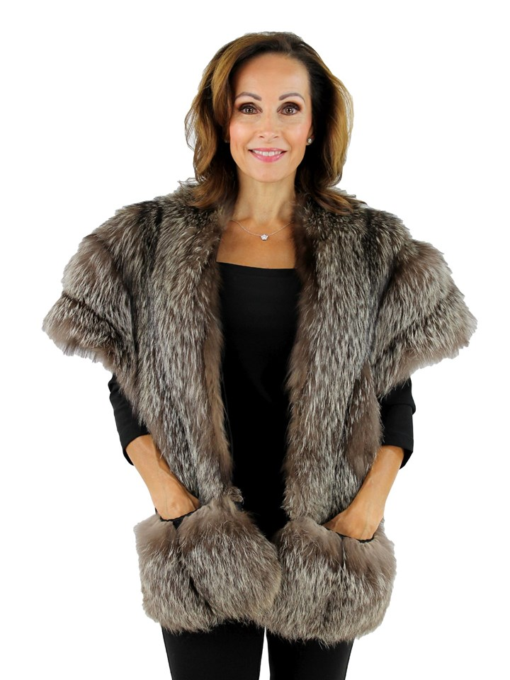 Woman's Natural Silver Fox Fur Stole