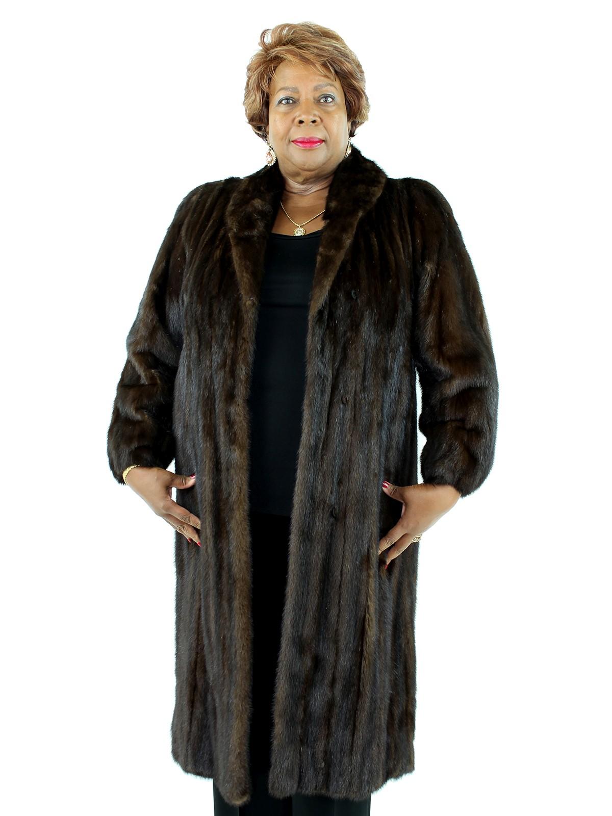 671fef454 Dark Mahogany Female Mink Fur Coat - Women's Large| Estate Furs