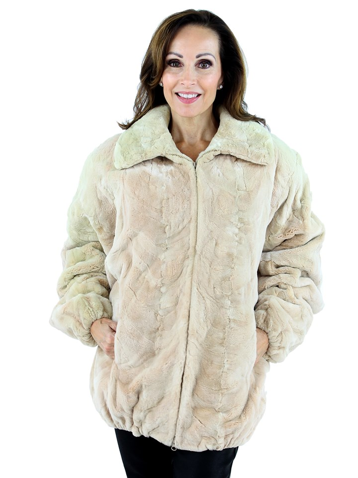 Woman's Tourmaline Mink Fur Sectioned Jacket