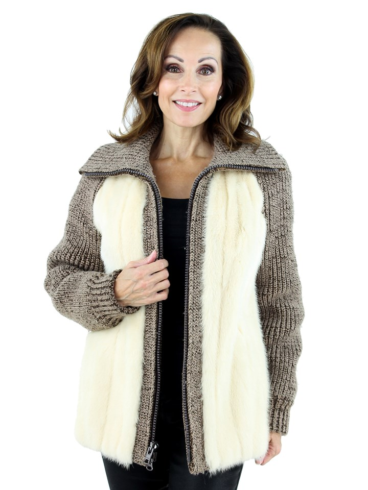 Woman's Tourmaline Mink Fur and Knit Jacket