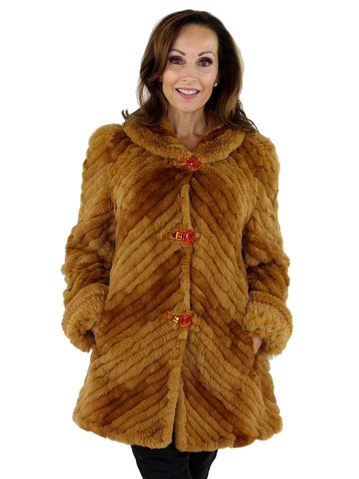 Woman's Whiskey Knit Rabbit Fur Jacket