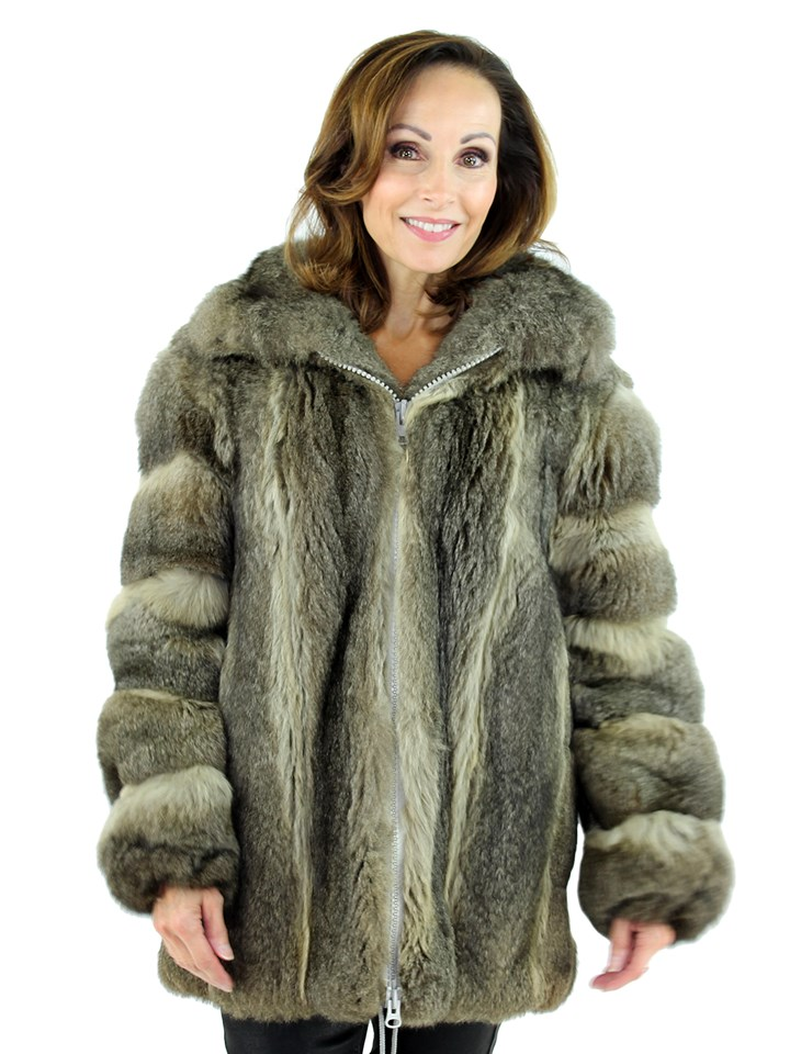 Woman's Grey Opossum Fur Parka
