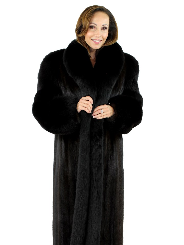 Woman's Black Mink and Fox Fur Coat