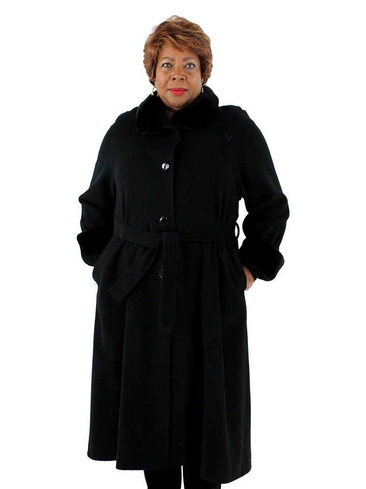 Woman's Black Wool Coat with Sheared Nutria Collar and Cuffs