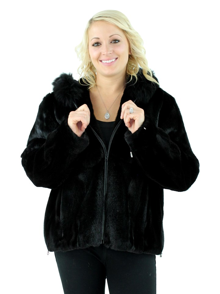 Woman's Semi-sheared Ranch Mink Fur Parka with Fox Trimmed Hood