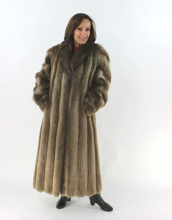 Long Hair Beaver Fur Coat Women S Medium 37738
