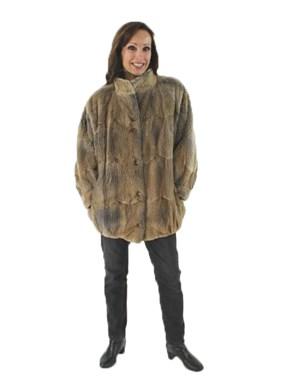 Petite Natural Sheared Muskrat Jacket
