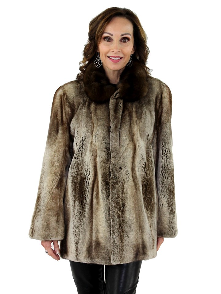 Women's Platinum Semi Sheared Mink Fur Jacket with Sable Fur Collar
