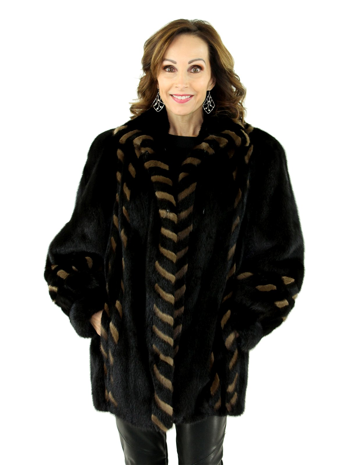 3850aea3d1d1 Ranch Mink Fur Jacket Reversible to Black Leather - Women s Mink Fur ...