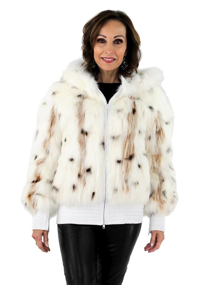 Woman's White Spotted Fox Fur Zipper Parka with White Velvet Lined Hood