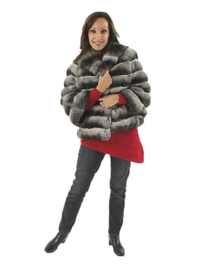 Gorgeous and Oh so Soft Natural Chinchilla Convertible Cape Jacket