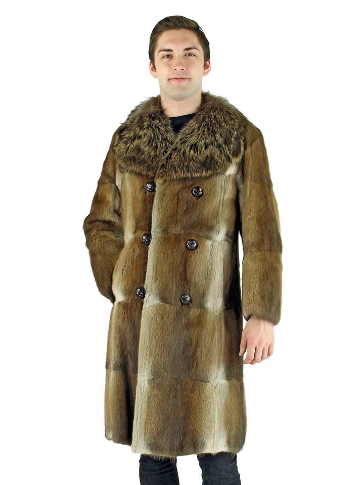 Man's Natural Muskrat Fur Coat with Raccoon Collar
