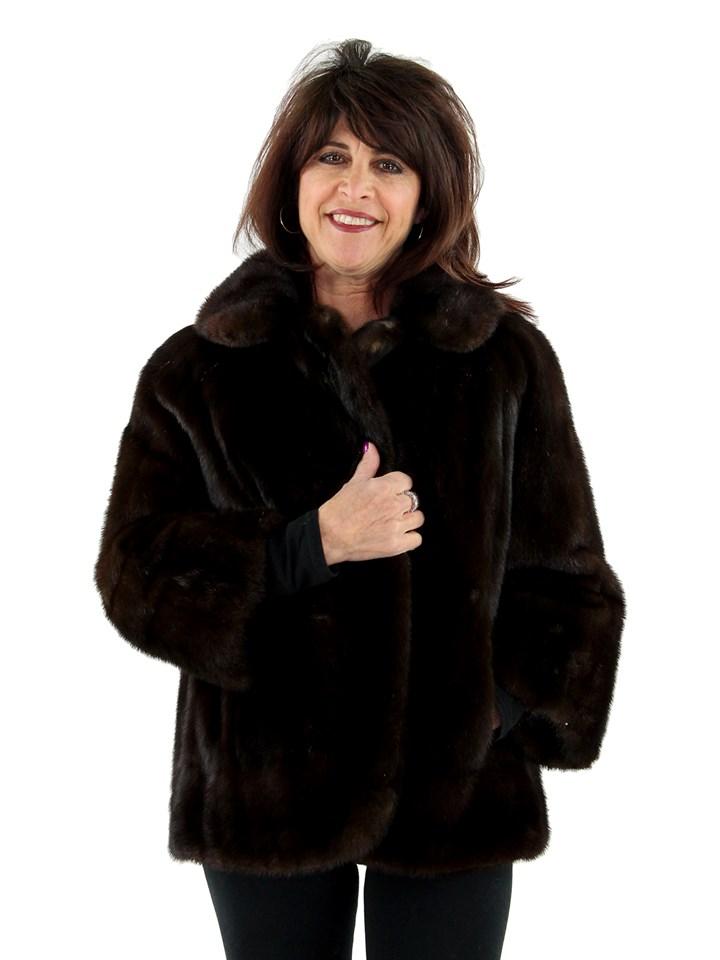 Woman's Dark Mahogany Female Mink Fur Jacket
