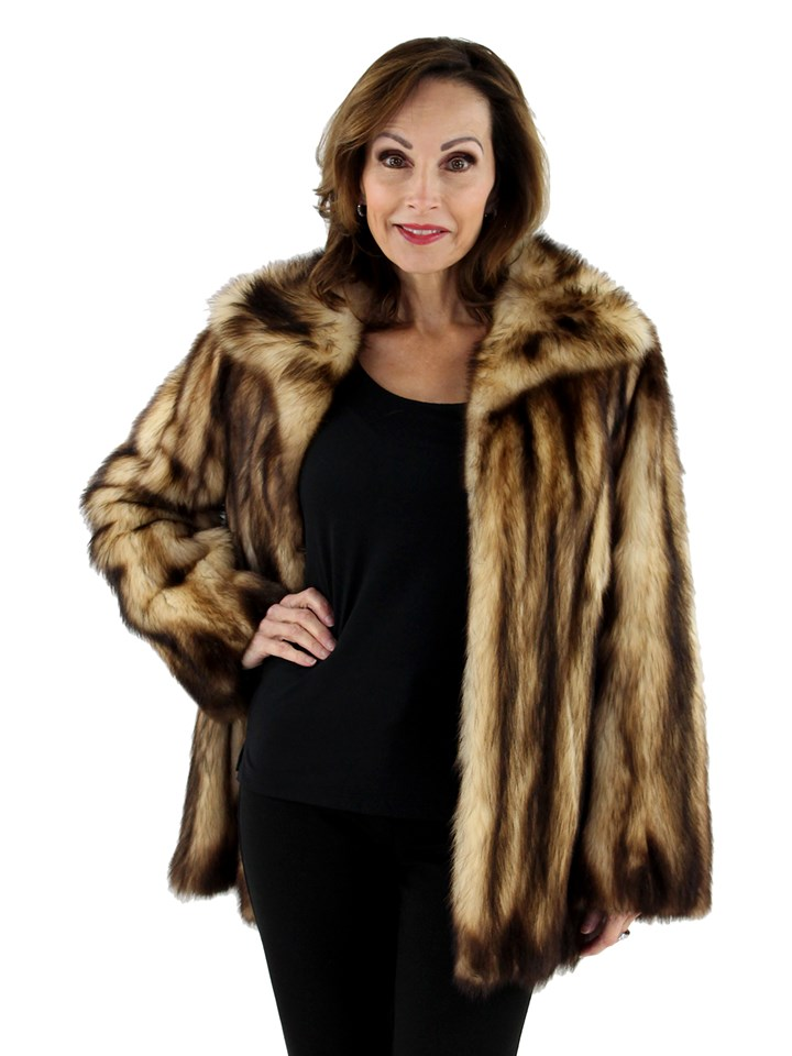 Women's Natural Fitch Fur Jacket