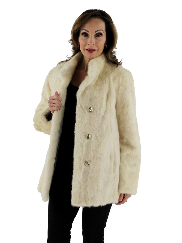 Woman's Tourmaline Sculptured Mink Section Fur Jacket