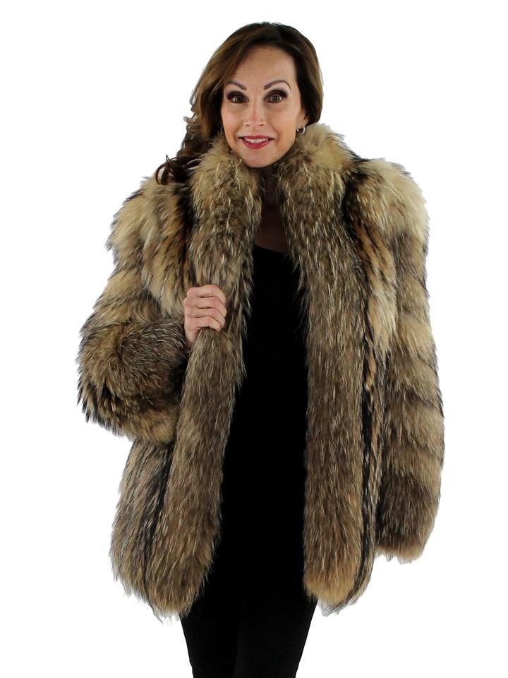 Women's Natural Finn Raccoon Fur Jacket