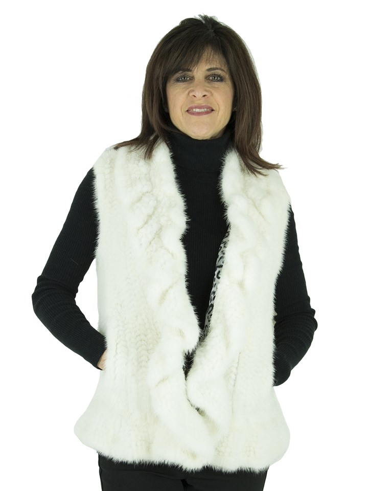 Woman's White Knit Mink Fur Vest with Ruffle Trim