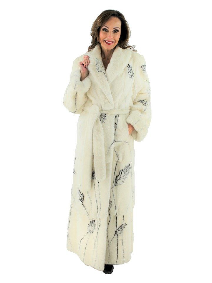 Woman's Zuki White Mink Fur Belted Coat with Black Leaf Pattern Inserts