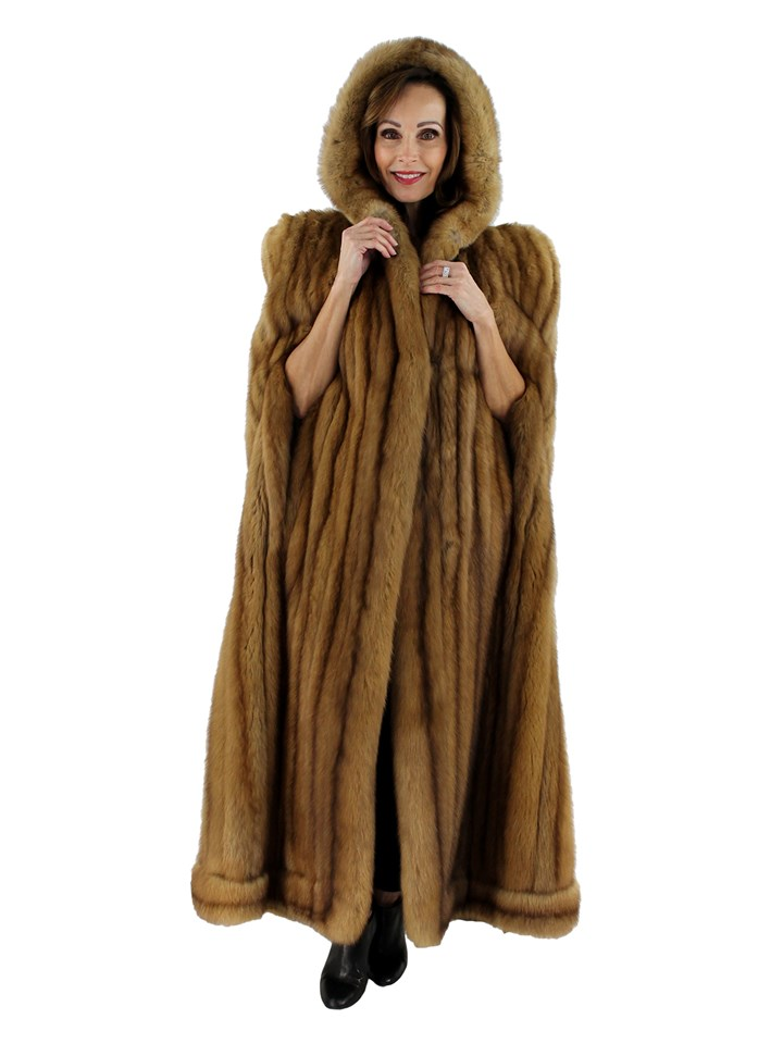 Woman's Natural Golden Sable Hooded Cape
