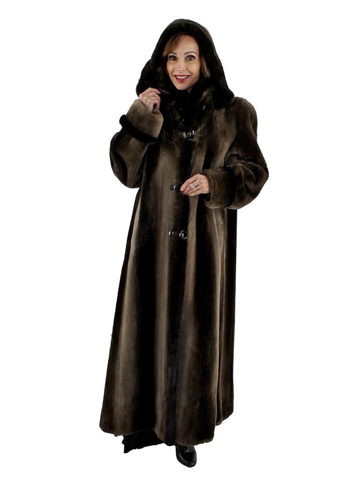 Woman's Phantom Sheared Beaver Fur Coat with Detachable Hood