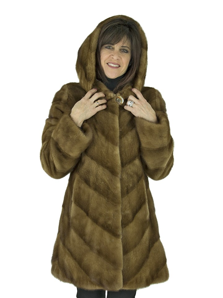 Woman's Whiskey Female Mink Fur Parka